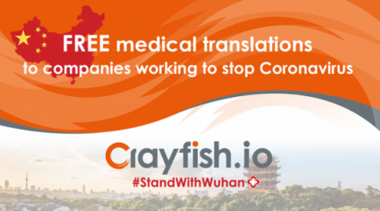 Crayfish.io offers free medical translations to companies and research institutions working to stop Coronavirus