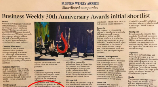 Crayfish.io has been shortlisted in the Business Weekly 30th Anniversary Awards