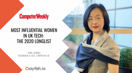 Crayfish.io Founder & CEO Ting Zhang has been recognised in the Most Influential Women in UK Tech 2020 list by ComputerWeekly magazine